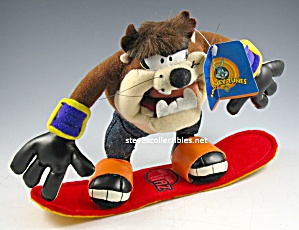 TAZ ON SNOWBOARD Plush Doll w/Tag (Image1)