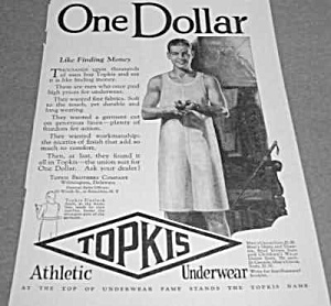 1926 Topkis One Dollar MEN'S UNDERWEAR Ad (Image1)