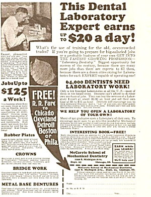 1927 McCarrie School of Mechanical DENTISTRY Mag. Ad (Image1)