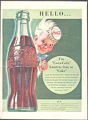 1942 COCA COLA BOTTLE Advertisement-COKE CAP BOY (Image1)