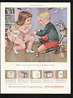1950 Gladys Rockmore Davis Illustrated Bandage Print Ad