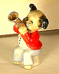Vintage Trumpet Playing Pooch