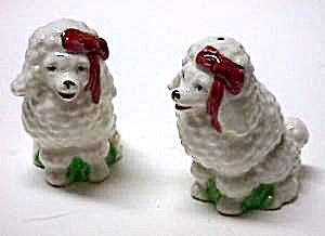 Vint. WHITE POODLES Pottery Salt and Pepper Shakers (Image1)