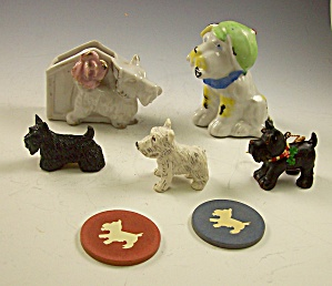 Box Lot Of 6 Pc Scottie Dog Collectibles - Vintage