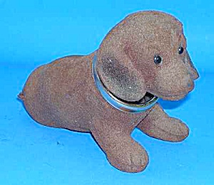 1960s Flocked Plastic NODDING DACHSHUND for the Car (Image1)