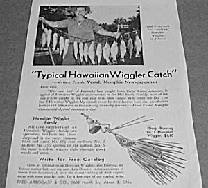 1947 Fred Arbogast Hawaiian Wiggler Fishing Lure Ad