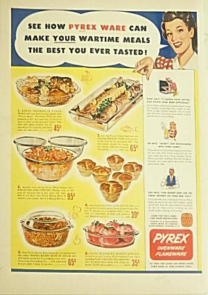 1943 PYREX Bakeware - Bowls Color Ad (Image1)