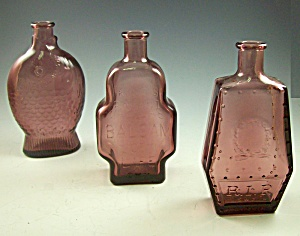 Box Lot Of 3-1970s Wheaton Amethyst Bottles-tombstone+