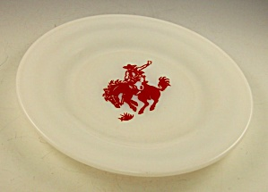 Mint 1950s 7 Inch Hazel Atlas Milk Glass Cowboy Plate
