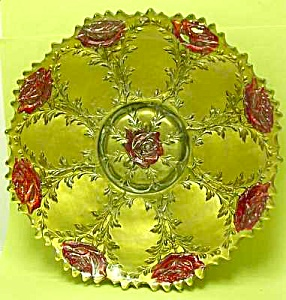 Early Reverse Painted On Glass Dish: Roses