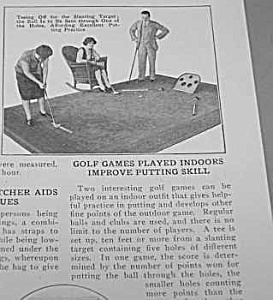1926 GOLF PUTTING PRACTICE INDOORS Mag. Article B (Image1)