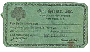 1937 GIRL SCOUT Membership Card (Image1)