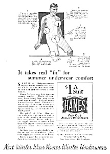 1924 Hanes Dollar Men's Underwear Ad
