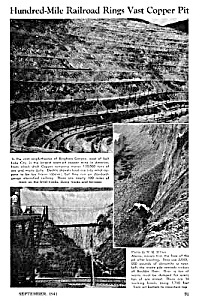 1941 BINGHAM CANYON, COPPER MINE RAILROAD Mag. Article (Image1)