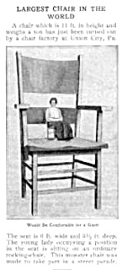 1910 UNION CITY, PA Giant Chair Mag. Article (Image1)