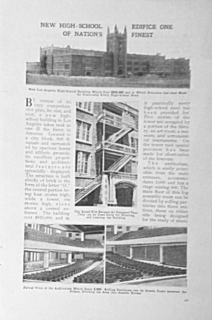 1918 New Los Angeles California High School Mag. Article