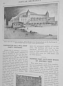 1927 ATLANTIC CITY, NJ CONVENTION HALL Mag. Article (Image1)
