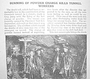 1910 GUNNISON TUNNEL DEATHS-Colorado Article (Image1)