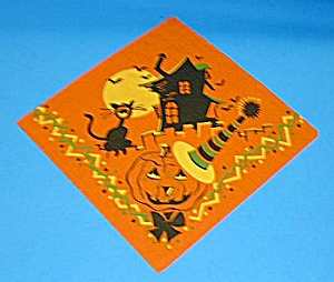 Gorgeous 1950s HALLOWEEN NAPKIN - Must See (Image1)
