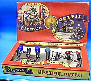 c.1940 Clemco CHRISTMAS LIGHTS in Graphic Display BOX (Image1)