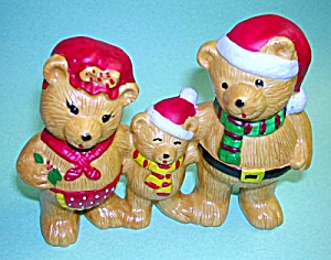 Adorable Russ THREE CHRISTMAS BEARS Pa Ma Baby (Image1)