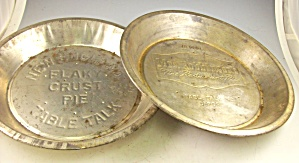 2 Metal Advertising PIE TINS 9 inch NE Table Talk+ (Image1)