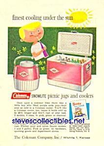 1960 COLEMAN PICNIC JUG- COOLERS Ad (Image1)