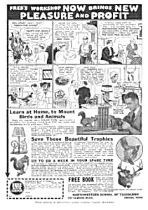 1933 Learn Taxidermy At Home Mag. Ad