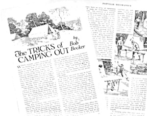 1926 TRICKS OF CAMPING OUT Mag. Article (Image1)
