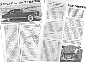 Patent Art  and Magazine Article:1951 KAISER AUTOMOBILE (Image1)