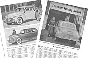 1949 CHRYSLER PLYMOUTH DESOTO AUTOMOBILES Mag. Article (Image1)