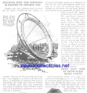 1925 Dirigible Airship Hitching Post Kansas Article