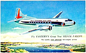 1950s Eastern Airlines Silver Falcon Postcard
