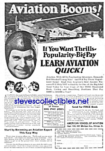 1926 American Aviation School Learn To Fly Ad