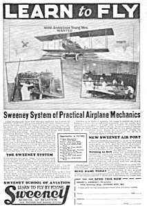 1926 Sweeney School - Aviation LEARN TO FLY Ad (Image1)