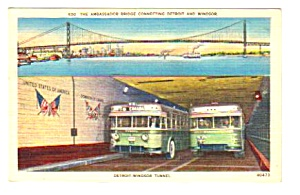 1950s DETROIT-WINDSOR TUNNEL Busses, Canada Postcard (Image1)
