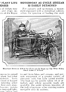 1926 MOTORCYCLE WITH BOAT SIDECAR Mag. Article (Image1)
