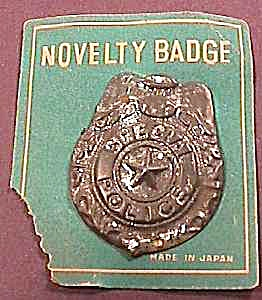 1950's SPECIAL POLICE Tin Toy Badge/Orig Card (Image1)