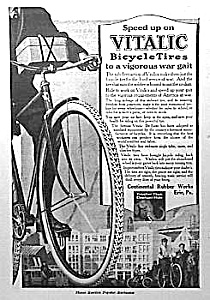 Great 1918 VITALIC Bicycle Tires ART DECO Ad (Image1)