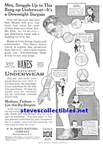 1917 HANES DOLLAR MEN'S UNDERWEAR Ad (Image1)