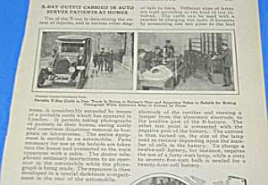 1926 X-ray Outfit Carried In Car Serves Homes Article