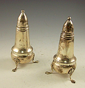 STERLING SILVER Footed Salt and Pepper Shakers-Weighted (Image1)