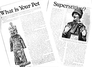 1926 WHAT IS YOUR PET SUPERSTITION Magazine Article (Image1)