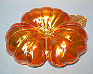 Iridized Marigold GLASS Divided CANDY DISH - Gorgeous (Image1)