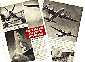 1945 THE B-32 NEWEST SUPERBOMBER Aviation Mag. Article (Image1)
