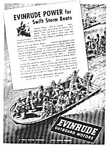 1943 WWII EVINRUDE BOAT MOTOR Mag. Ad - Military (Image1)