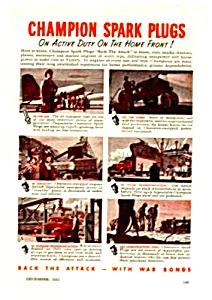 1943 WWII CHAMPION SPARK PLUGS Ad - Military Theme (Image1)