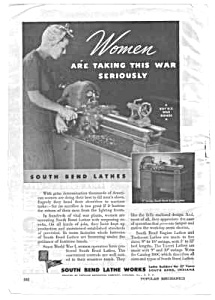 1943 WWII SOUTH BEND LATHES Ad - Women Military Theme (Image1)