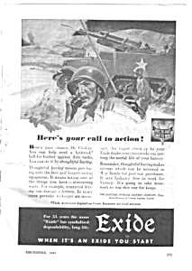 1943 WWII EXIDE BATTERIES Mag. Ad - Military Theme (Image1)