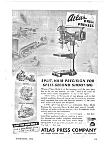 1943 WWII ATLAS DRILL PRESS Mag. Ad - Military Theme (Image1)